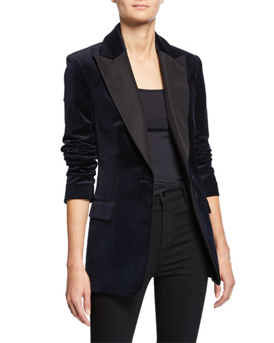 Steele One-Button Velvet Jacket