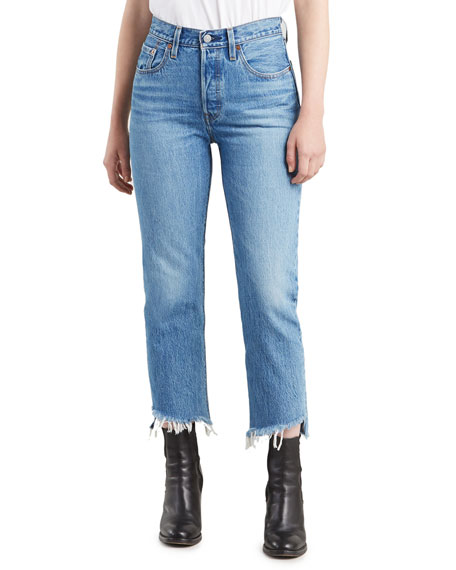 Levi's Jeans 501 CROPPED STRAIGHT JEANS WITH SHREDDED HEM