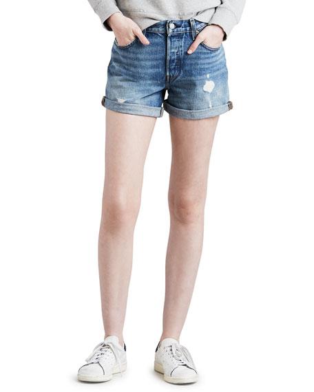 Levi's Shorts 501 DISTRESSED DENIM SHORTS