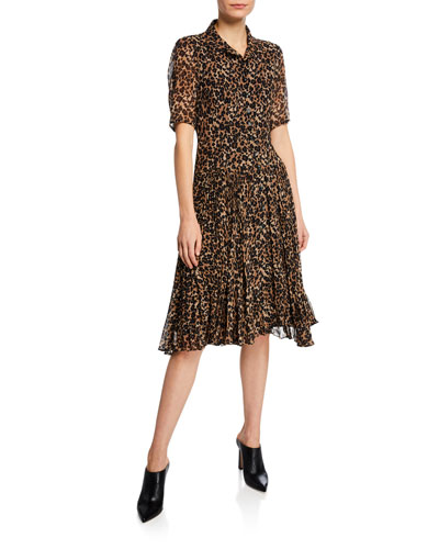 Wildlife Button-Front Short-Sleeve Leopard-Print A-Line Dress