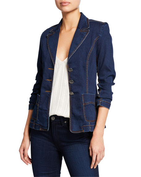 Nanette Lepore Rain Forest Button-Front Denim Blazer