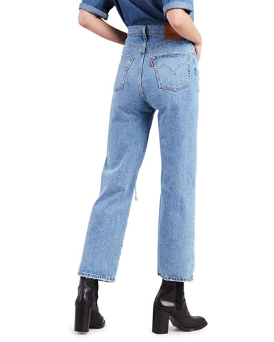 Ribcage High-Rise Distressed Straight-Leg Jeans