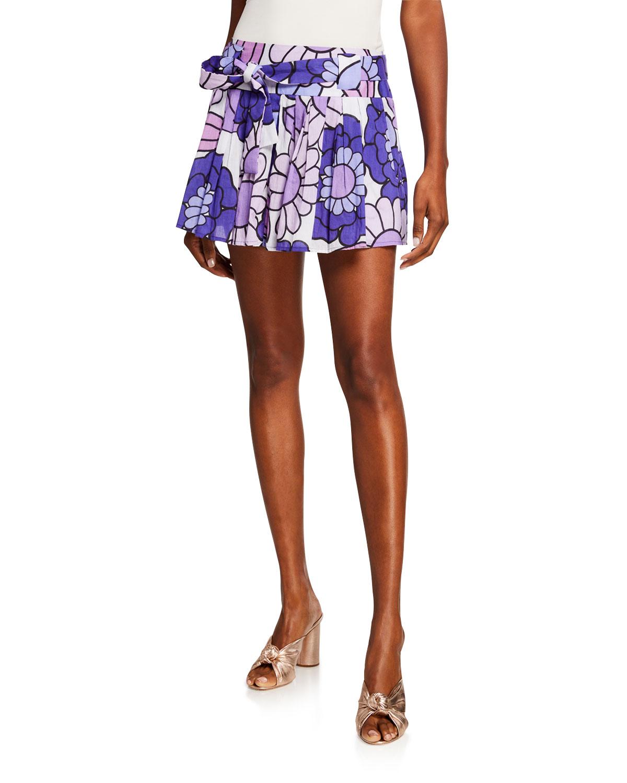 Dodo Bar Or Skirt.Milli Pleated Floral Print Belted Mini Skirt