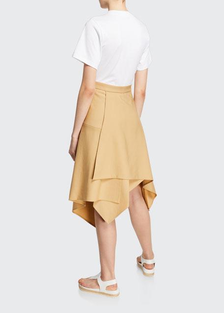 Short-Sleeve Wool Handkerchief Tee Combo Dress