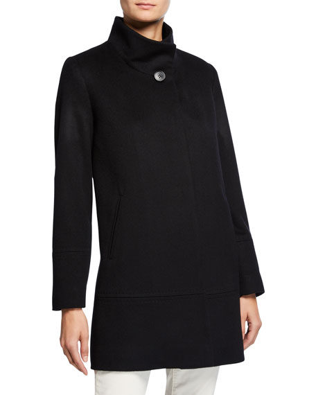 Cashmere-Wool One-Button Car Coat