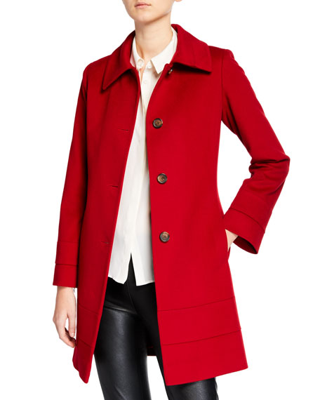 Banded Fit-&-Flare Wool Top Coat