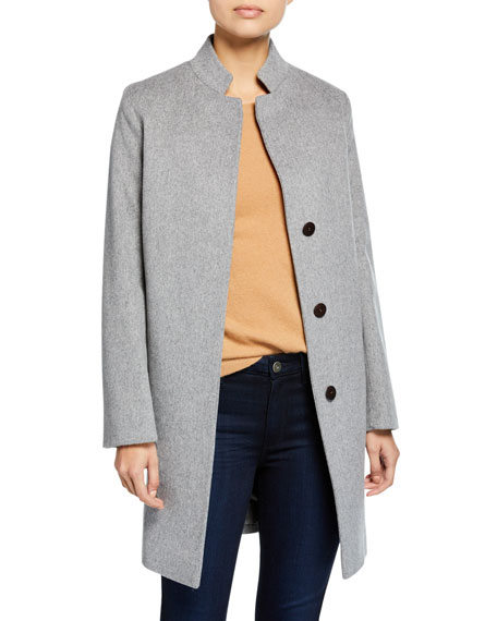 Fleurette Inverted-Collar Wool Coat