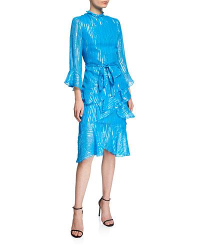 Marissa Metallic Ruffle 3/4-Sleeve Dress