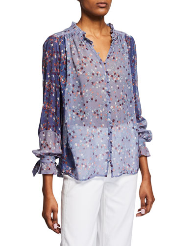 Dorothy Floral Silk Button-Front Blouse