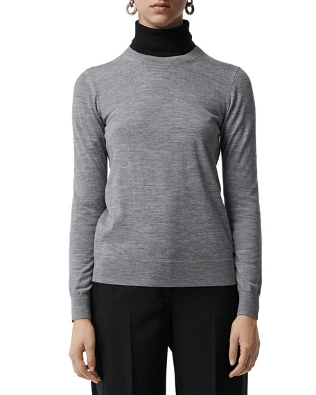 Burberry Bempton Crewneck Long-Sleeve Merino Wool Sweater