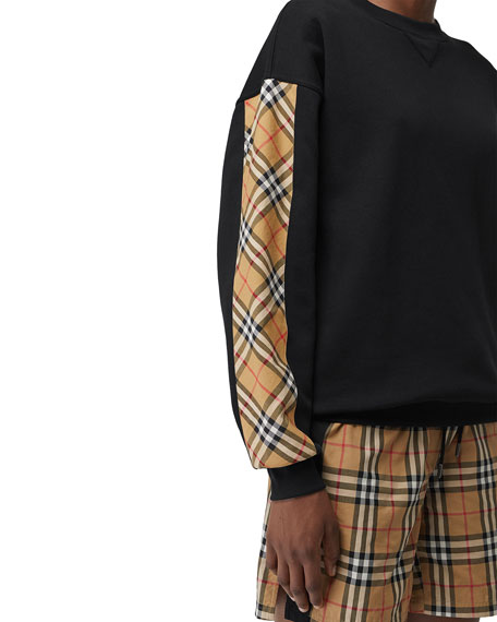 4fc3bd10422 Burberry Bronx Crewneck Long-Sleeve Jersey Sweatshirt with Vintage ...