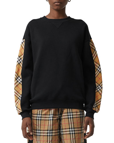 Bronx Crewneck Long-Sleeve Jersey Sweatshirt with Vintage Check Detail