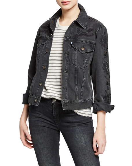 Levi's Made & Crafted Embroidered Button-Front Cutout Boyfriend