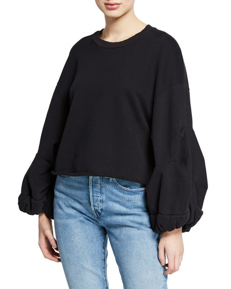 Levi's Sweaters FLOUNCE BLOUSON-SLEEVE CREWNECK PULLOVER SWEATER