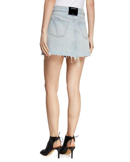 Bite Leather/Denim Frayed Mini Skirt