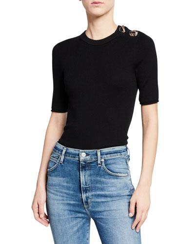 Short-Sleeve Ribbed Sweater w/ Embellished Shoulder