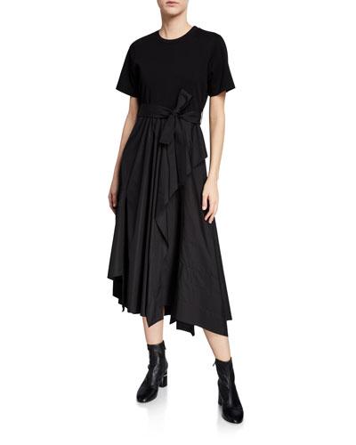 Belted Crewneck Poplin Combo Tee Dress