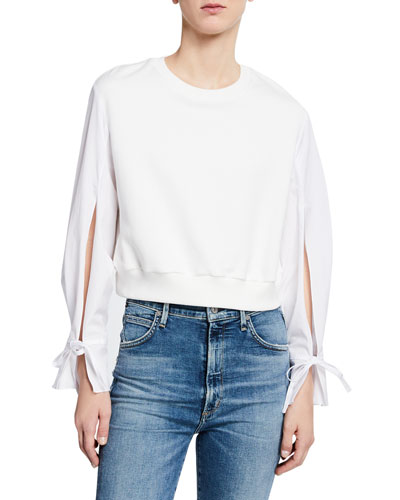 Cropped French Terry Pullover w/ Poplin Sleeves