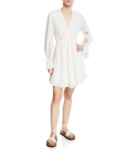 Textured Tie-Sleeve V-Neck Short Dress