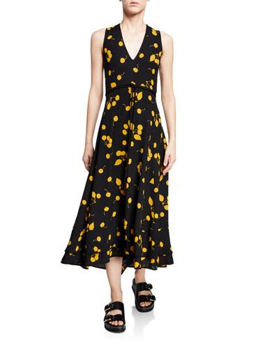 Cherry-Print Sleeveless Maxi Dress