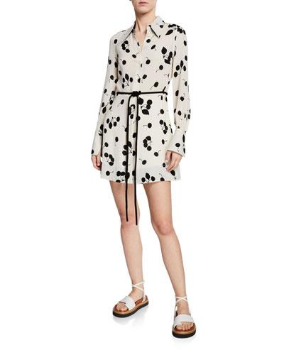 Belted Cherry-Print Shirt Dress