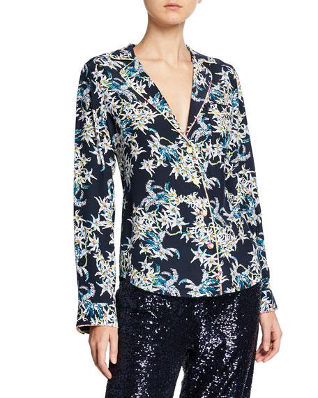 cinq a sept Juliet Floral-Print Silk Button-Front Top