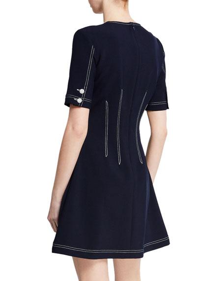 Mikel Short-Sleeve Button-Front Short Dress