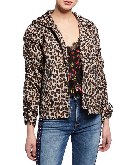 Veronica Beard Sibila Leopard-Print Anorak Jacket