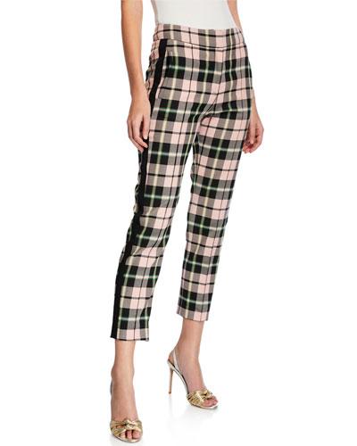 Gemini Straight-Leg Plaid Tuxedo Pants
