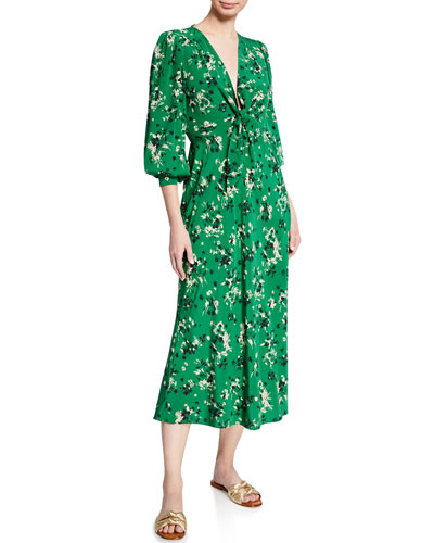 Amber Long-Sleeve Floral Tie-Front Midi Dress