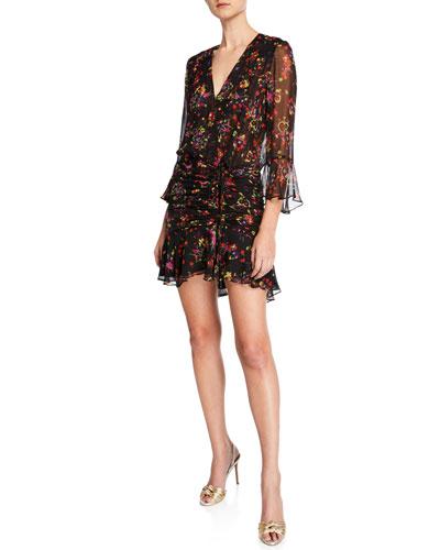 Sean Floral-Print Ruched Flounce Dress