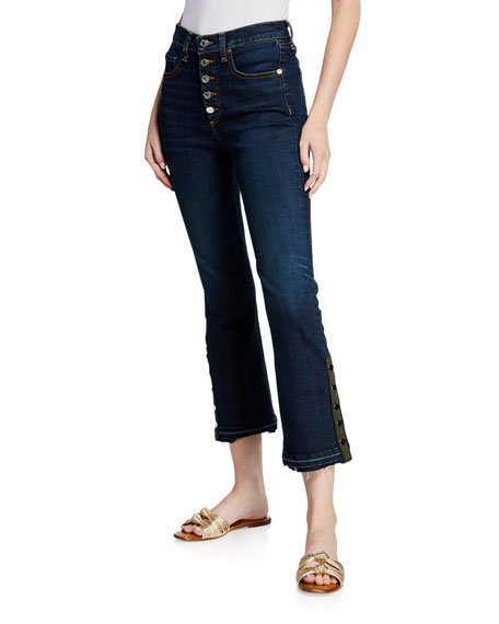 Carolyn Cropped Boot-Cut Jeans With Snap Hem in Dark Blue
