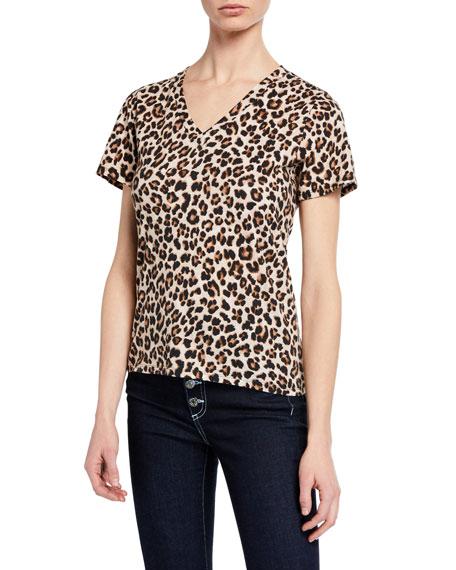 Saniya Leopard-Print V-Neck Tee