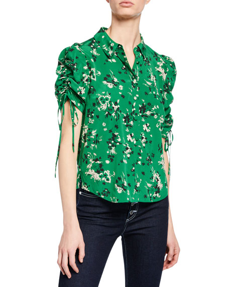 Carmine Ruched-Sleeve Silk Button-Front Blouse