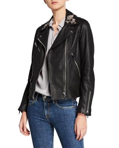 Peebles Embellished Leather Jacket