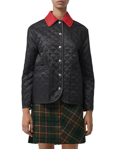 Burberry Button-Front Diamond Quilted Barn Jacket with Contrast