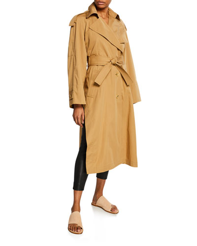 Side-Split Long Cotton Trench Coat