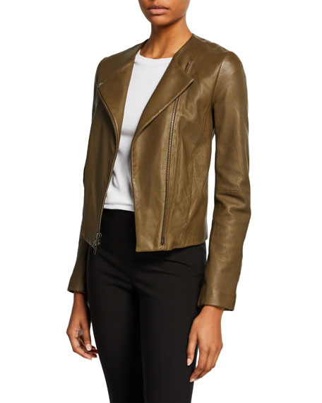44c303f2174 Vince Cross-Front Leather Moto Jacket