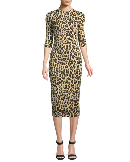 Delora Fitted Leopard Mock-Neck Dress