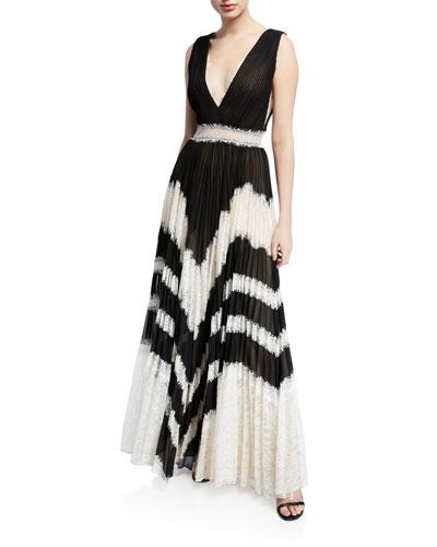 Tess Sunburst V-Neck Sleeveless Pleated Maxi Dress w/ Lace
