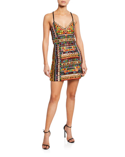 Tayla Embroidered Lantern Mini Dress