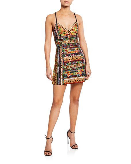 Tayla Embroidered Lantern Mini Dress