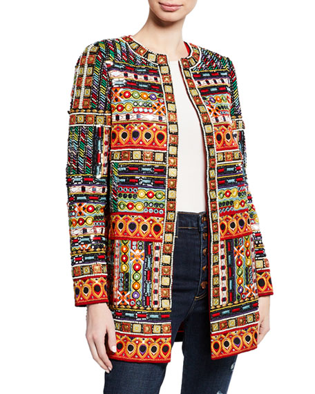Rory Embroidered Long Collarless Jacket