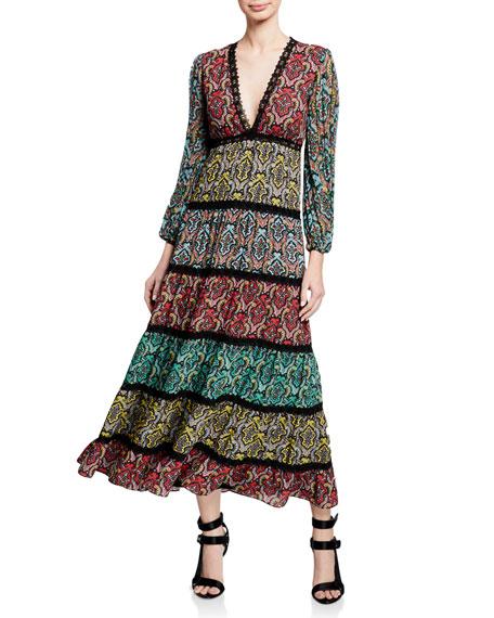 Karolina V-Neck Blouson-Sleeve Paneled Maxi Dress