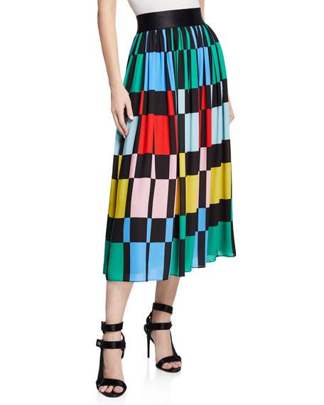 Alice + Olivia Melda Checkered Midi Gathered Skirt