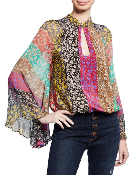 Prija Mandarin-Collar Flare-Sleeve Blouse