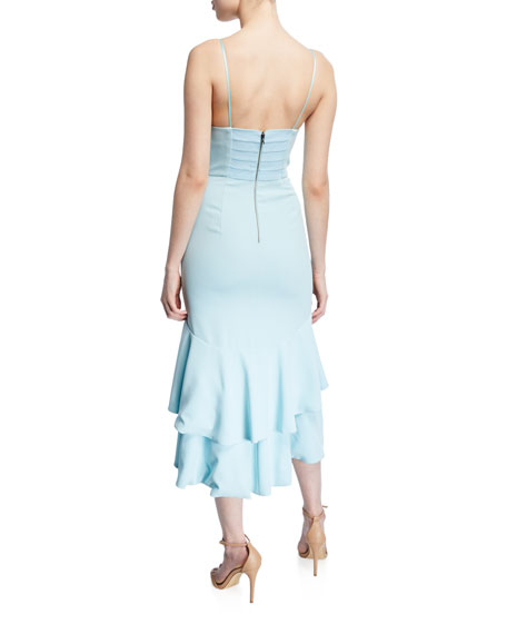 Amina Plunging Sweetheart Spaghetti-Strap Midi Dress
