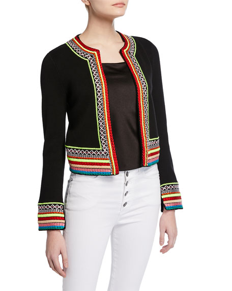 Meemee Embroidered Open-Front Cardigan