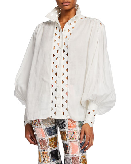 Ninety-Six Wave High-Neck Button-Front Top