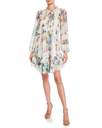 Ninety-Six Linear Floral Ruffle Short Dress